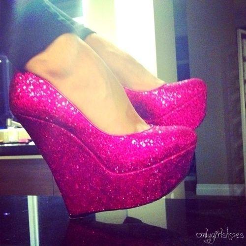 Pink sparkle wedges