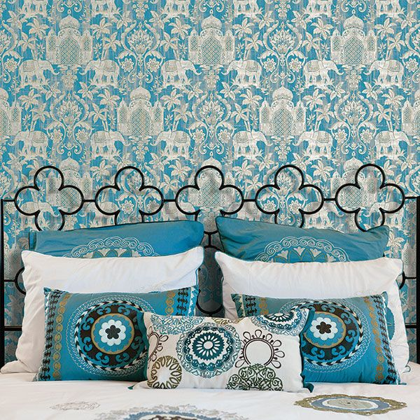 Beautiful Eastern inspired Elephant wallpaper in blue and metallic silver. Indo Chic Collection by Galerie - G67356R