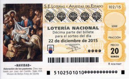 """Décimo de Lotería de Navidad del año 2014 - «NAVIDAD» - La imágen que aparece este año 2015 en los décimos de Navidad es de un cuadro titulado """"Adoración de los Reyes Mayos"""". Es un óleo realizado por Juan Castillo en el Siglo XVII Este óleo se halla actualmente en el Museo de Bellas Artes de Sevilla."""