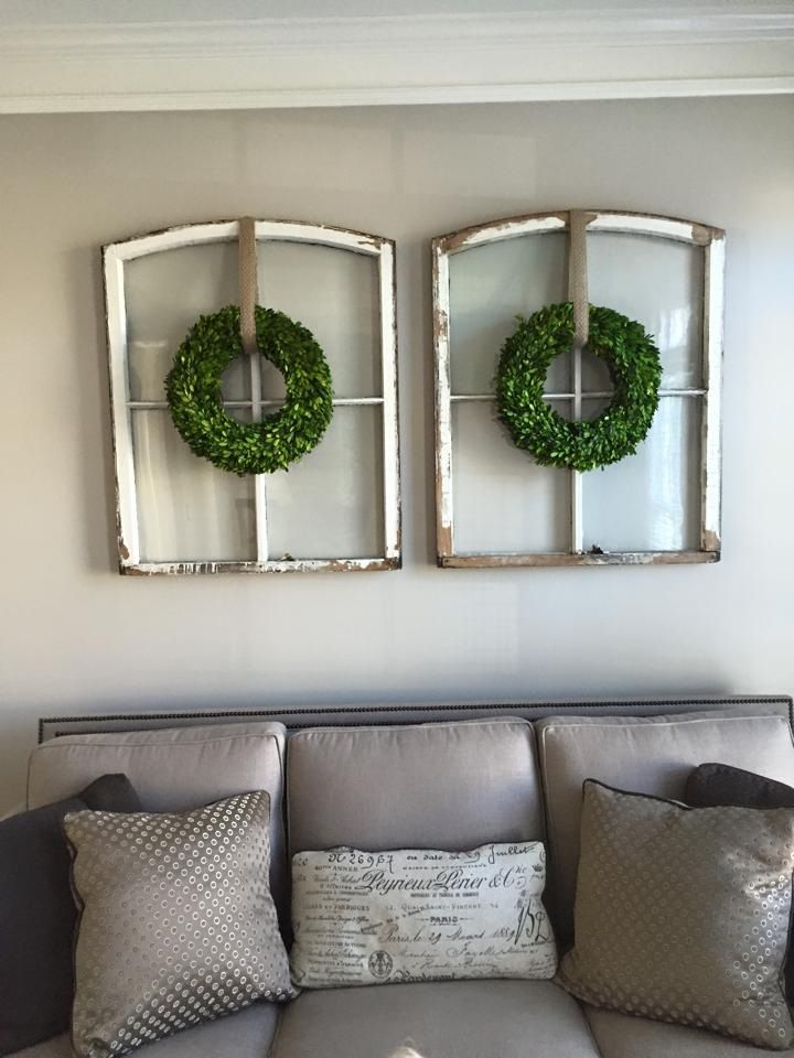 55 best Old Window Frames Panes Distressed Reclaimed Wreath Holiday ...