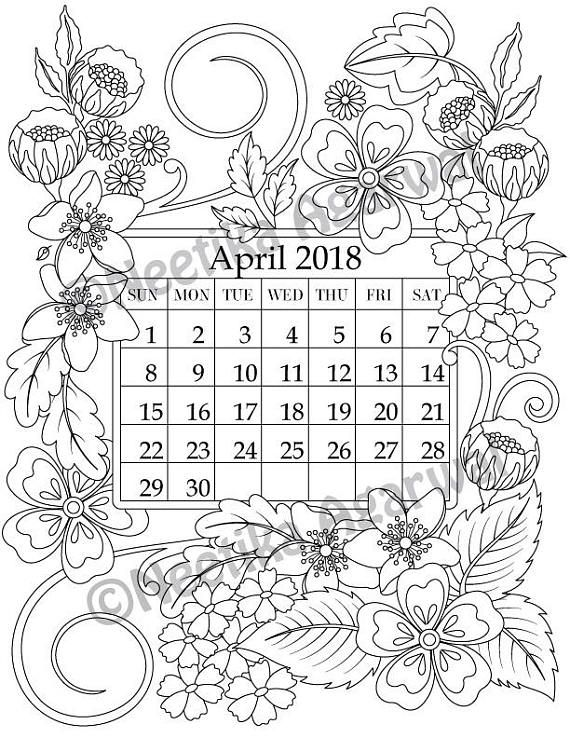 April 2018 coloring page calender planner doodle flowers instant download printable digital download only
