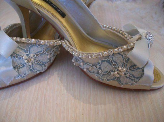 Blue Bridal Shoes Bleu Embellished ShoesCustom Order by Parisxox, $220.00