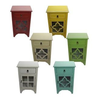 Heather Ann Single Drawer Single Door Cabinet With Glass Insert Sofa End Tables Great Deals