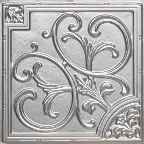 decorative plastic ceiling tile 204 silver ul rated can be glue on any flat surfase