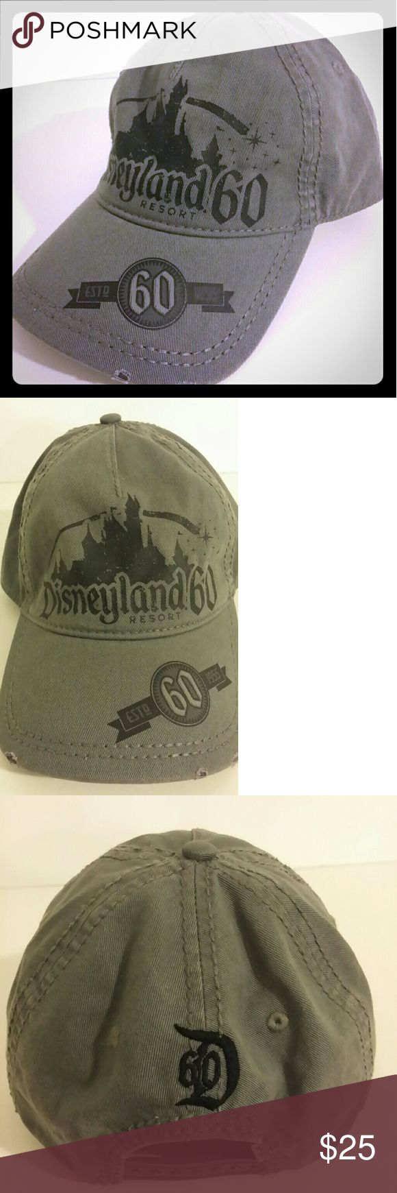 Disney parks resorts Disneyland Hat Disney Parks Disneyland Resort 60th anniversary Baseball Cap  HTF Adult Size  Snapback Adj  Gray/ Black Distressed Very good condition Disneyland Resort Accessories Hats