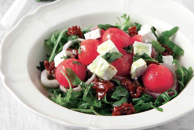 Salad Rocket with Feta cheese  Salata-rokas-me-karpouzi-feta