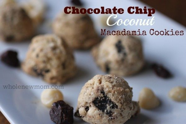 Chocolate Chip Coconut Macadamia Cookies (grain and dairy free with egg and sugar free options)