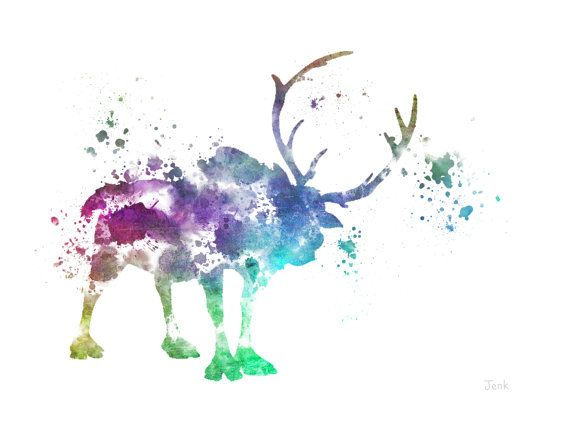 "Sven, Frozen ART PRINT 10 x 8"" illustration, Reindeer, Disney, Mixed Media, Home Decor, Nursery, Kid"
