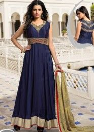 Party Wear Silk Blue Embroidered Work Anarkali Suit