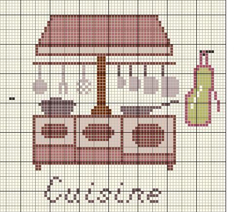 Cuisine - kitchen - point de croix - cross stitch - Blog : http://broderiemimie44.canalblog.com