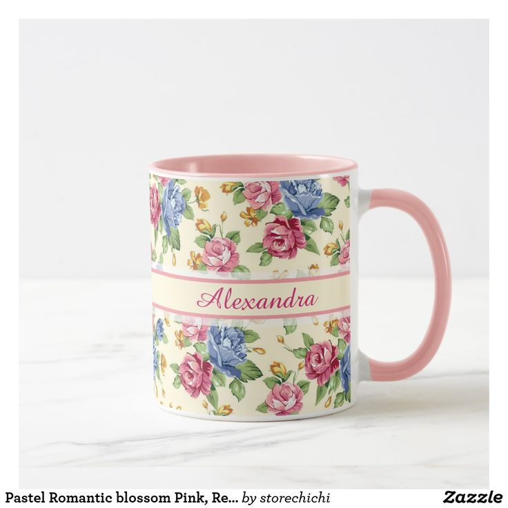 Pastel Romantic blossom Pink, Red, Blue Roses name Mug
