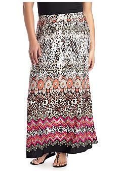New Directions® Plus Size Printed Maxi Skirt