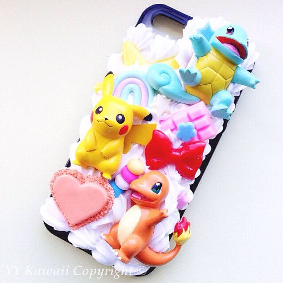 Custom Kawaii Pokemon Charmander Squirtle and Pikachu Decoden Phonecase for Iphone 4/4s 5, Samsung Galaxy S5 S3 S4, HTC One