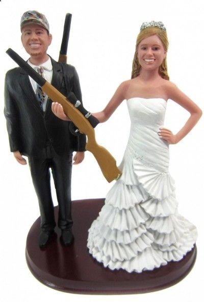 Hunting bride and groom with shotguns wedding cake topper - customized to look like you! www.minnesotavows.com