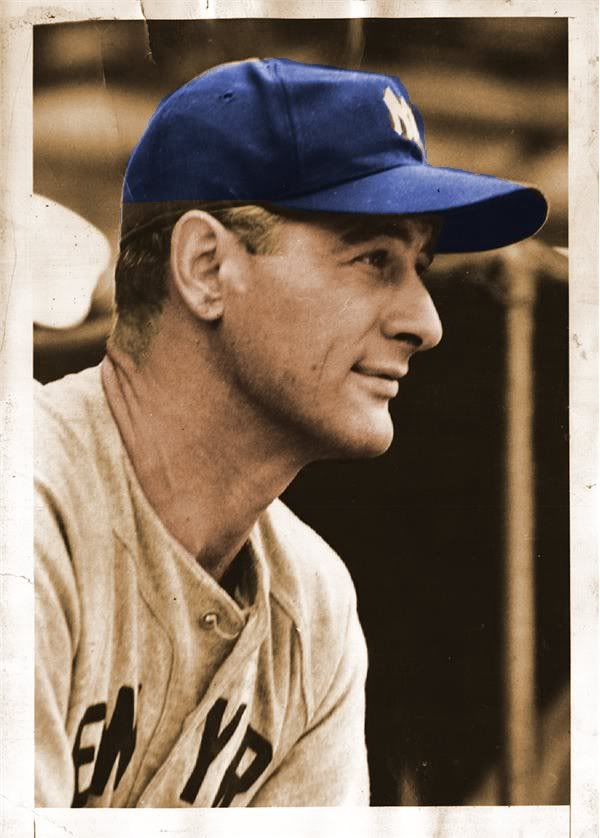 Lou Gehrig, New York Yankees. He's one of my favorite baseball players of all-time. SC