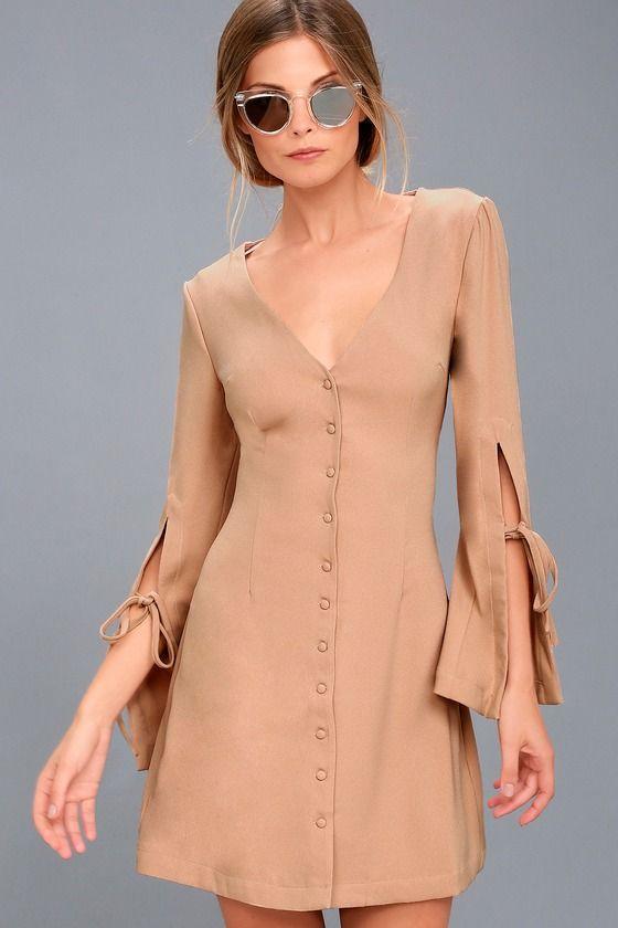 The Fifth Label Jeanne Beige Long Sleeve Dress
