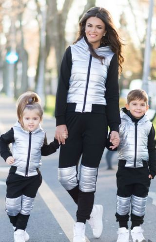 Trening mama si fiu negru cu argintiu de iarna