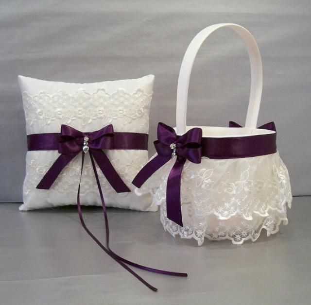 Plum Purple, Wedding Bridal, Flower Girl Basket and Ring Bearer Pillow Set on Ivory or White ~ Double Loop Bow