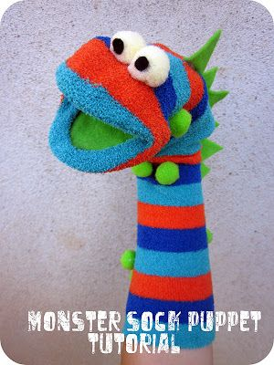 http://www.sixsistersstuff.com/2011/11/easy-monster-sock-puppet-tutorial.html