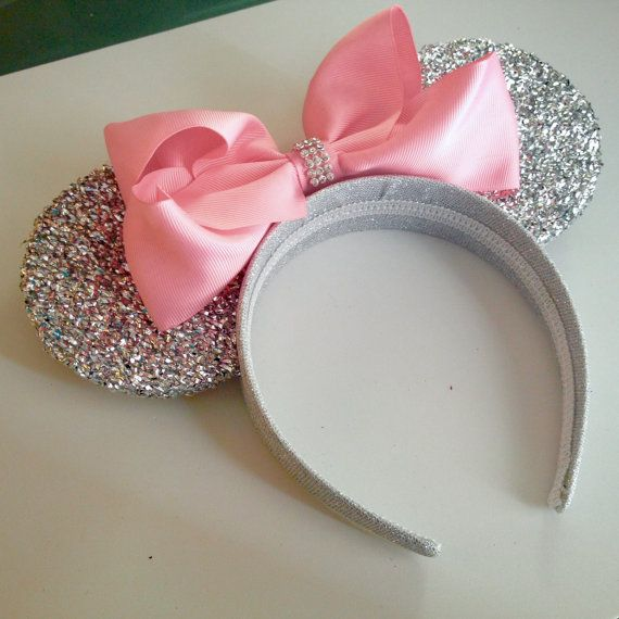 Pink Princess Minnie Mouse Ears Headband, With Super Sparkly Silver Ears