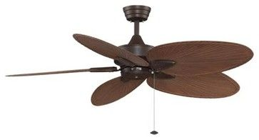 "52"" Windpointe Unipack with 5 Red Palm Blades Ceiling Fan in Rust tropical-ceiling-fans"