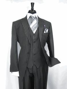 """Vinci Zegna V3RS-9 """"Black Pin Stripe"""" Gangster Style Men's 3 buttons Suit Vested  Jacket side vents with Notch Lapel Jacket in Luxurious Wool Feel and the Pants are pleated lined to the knee available for $169.99 @ BerganBrothersSuits.com"""