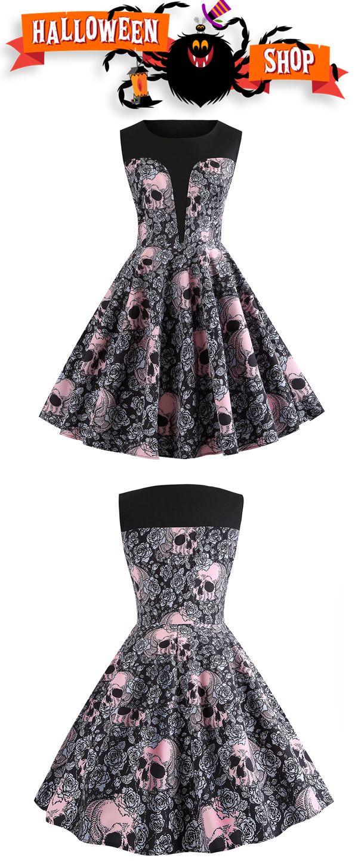7ced1072ec Halloween Round Neck Skull and Floral Print Vintage Dress.  dresslily   halloween  dresses