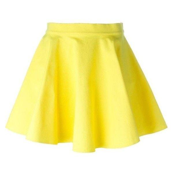 Jeremy Scott Skater Skirt ❤ liked on Polyvore featuring skirts, knee length skater skirt, knee length circle skirt, yellow skirt, skater skirt and yellow circle skirt