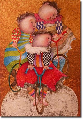 "Graciela Rodo Boulanger ~ ""Autour Du Monde"": Rodo Boulanger, Graciela Rodo, Nice Art, Mixed Media, Artsy Fartsi, Bicycles Art Crafts, Fat Art, Cycling Chic, Grasiela Rodo"