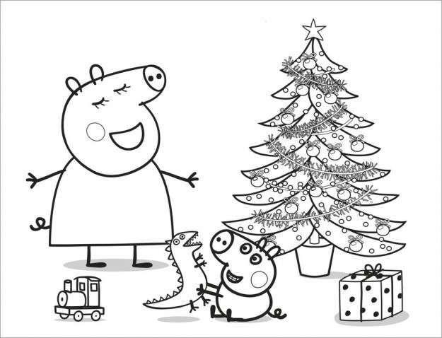 Natale In Casa Pig Disegni Da Colorare Natalizi Pagine Da