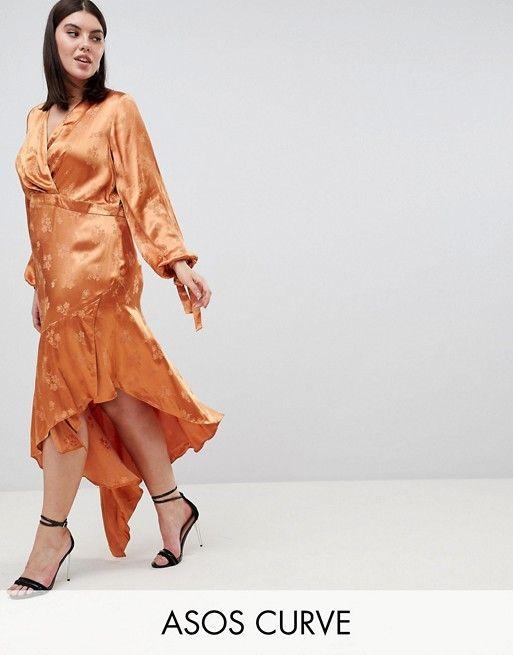 bb98b060bd8 DESIGN Curve soft floral jacquard midi dress with asymmetric hem ...