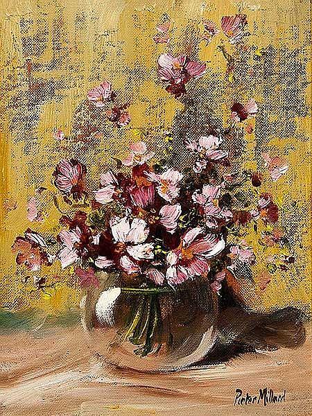 Pieter Millard (SA, born 1936) Oil, Still Life Flowers, Signed, 29 x 22
