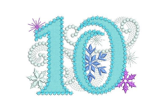 Ice Princess Number 10 Frozen Happy Birthday Cloth Decor Applique Machine Embroidery Design for Girls HB050