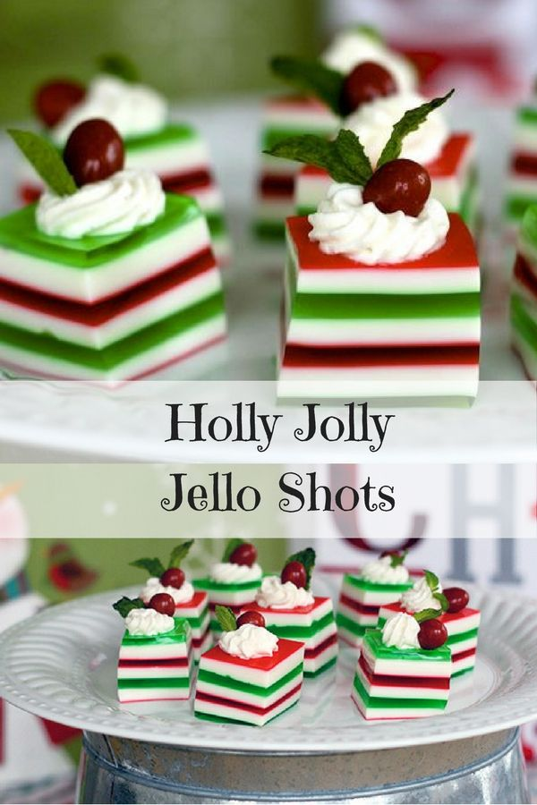 Holly Jolly Jello Shots- These Jello shots are so fun for your Christmas party!