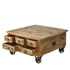 Couchtisch Truhe aus Mangoholz  auf Pharao24.de. Couchtisch auf Eisenrädern mit viel Stauraum. Klasse Industrial Style zu Verlieben! Mit Schubladen und Truhe! Hier entdecken: http://www.pharao24.de/couchtisch-truhe-brave-aus-mangoholz.html#pint