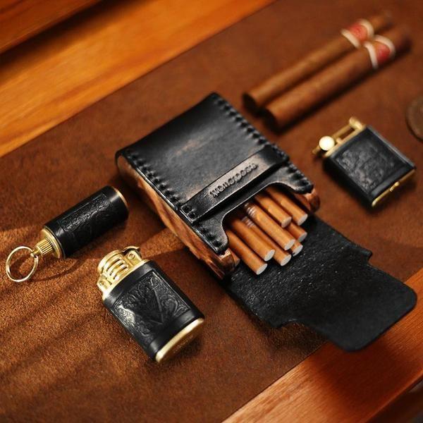 Cool Black Leather Mens Cigarette Case Wooden Custom Cigarette Holder for Men
