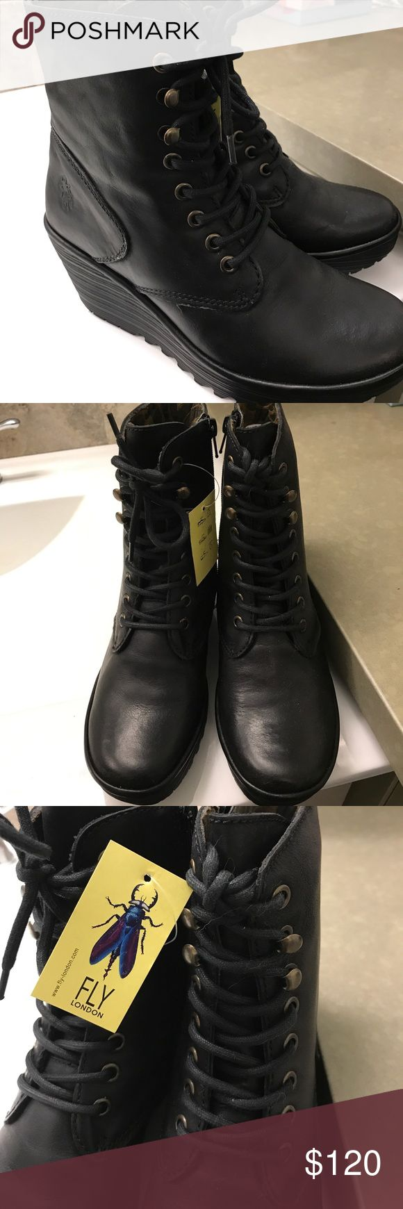 🦋 SALE! 🦋 Fly London Black Wedge Booties Never worn (though without the box). Excellent condition. Size 37. I'm a size 7 and they are a little snug on me. Would fit a size 6.5. I have quite a few pairs of Fly London and they are comfortable. People ask me about them whenever I wear them. Leather. No trades. Fly London Shoes Ankle Boots & Booties