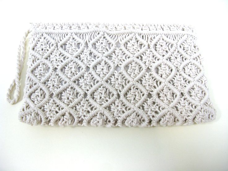 Macrame Clutch Bag - Macrame Purse - Cream Macrame Bag - 1970s Fashion - Small Purse - Woven Bag - Evening Bag - Festival Bag - Hippie Bag by MissieMooVintageRoom on Etsy