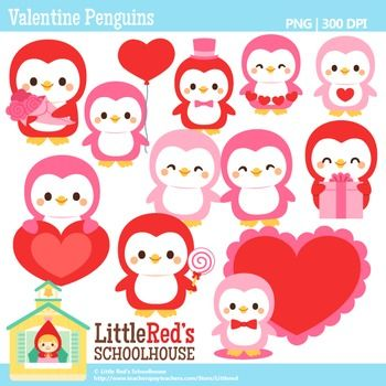 Clip Art - Valentine Penguins - holiday-themed clipart $4.50