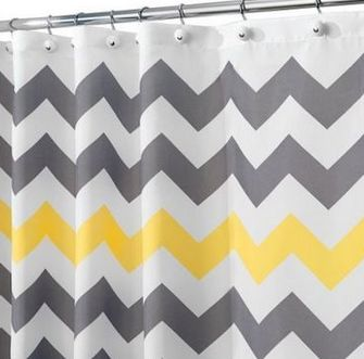 Chevron Gray Yellow Shower Curtain - basement bathroom