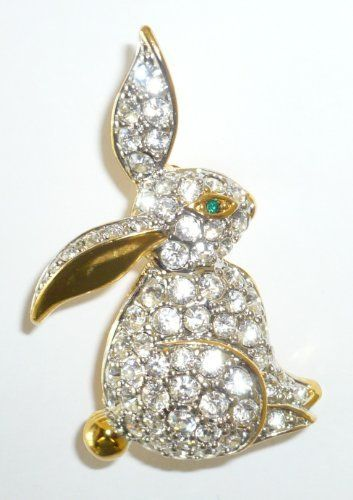 Goldplated Crystal Sitting Bunny Pin Goldfinger. $8.95