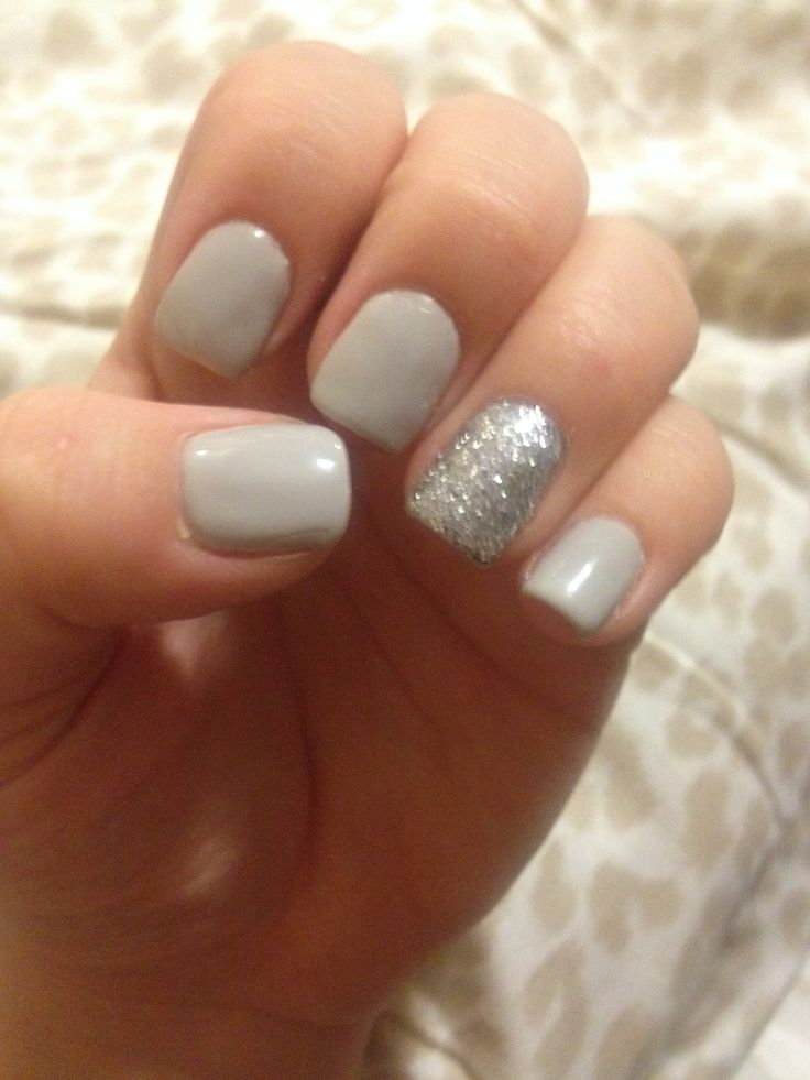 CND shellac cityscape with silver glitter accent nail ...