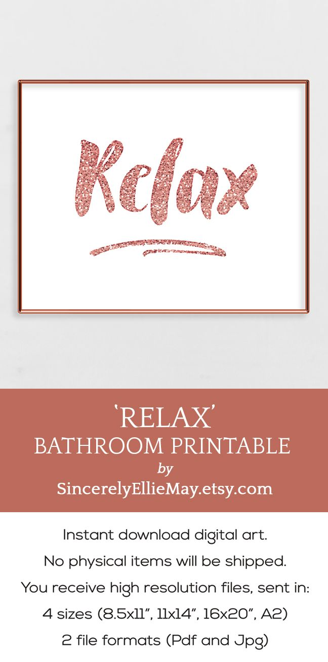 relax sign rose gold wall art encouragement quote print on wall of moms id=82789