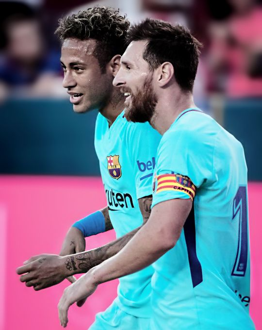 """"""""""" Neymar & Lionel Messi during the International Champions Cup match between FC Barcelona and Manchester United at the FedEx Field on July 26, 2017 in Hyattsville , NJ. FC..."""