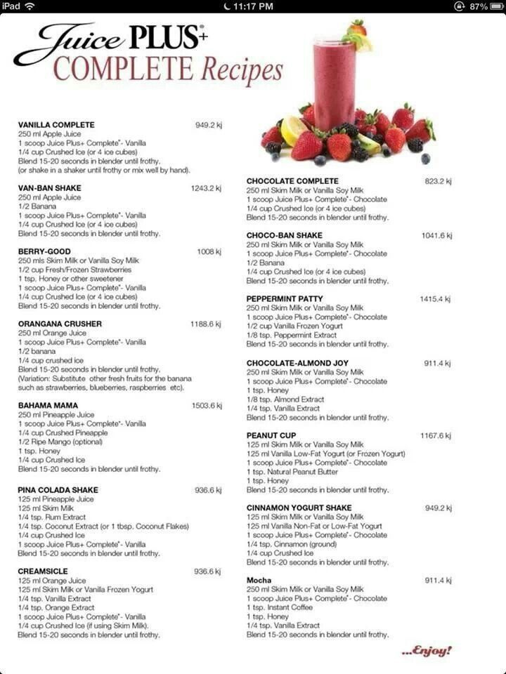 Juice Plus+ Complete Shake Recipes.  Click ecochran.juiceplus.com for more information.
