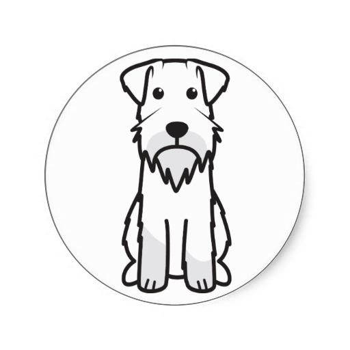 Schnauzer Drawing Easy: Miniature Schnauzer Dog Cartoon Classic Round Sticker