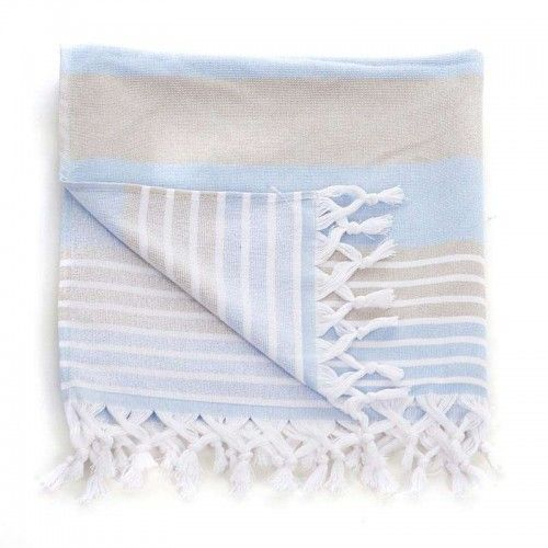 BODY TOWEL-PESTEMAL IN BLUE/BEIGE COLOR 75X160 (70%COT/30%POLY)
