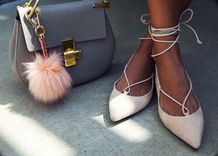 Sincerely Jules - Grey Chloe Drew Bag, Aquazzura Lace Up Flats