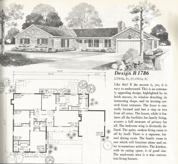 21 best vintage ranch floor plans images on pinterest | vintage