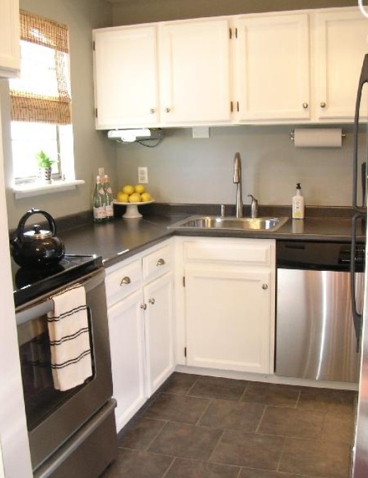 93 best gray floors images on pinterest bathroom home for Paint laminate kitchen cabinets white